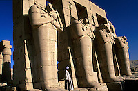 Statues of Ramses II at the Ramesseum Luxor Egypt