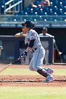 Glendale Desert Dogs third baseman Yu Chang (9), of the Cleveland Indians organization, starts down the first base line during an Arizona Fall League game against the Peoria Javelinas at Peoria Sports Complex on October 22, 2018 in Peoria, Arizona. Glendale defeated Peoria 6-2. (Zachary Lucy/Four Seam Images)