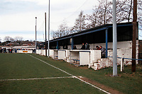 The main stand at Durham City FC Football Ground, Ferens Park, The Sands, Durham, pictured on 4th April 1994