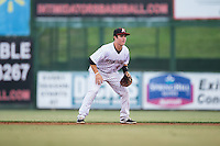 Kannapolis Intimidators second baseman Bradley Strong (18) on defense against the Asheville Tourists at Intimidators Stadium on May 28, 2016 in Kannapolis, North Carolina.  The Intimidators defeated the Tourists 5-4 in 10 innings.  (Brian Westerholt/Four Seam Images)