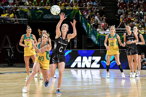09.10.2016. Qudos Bank Arena, Sydney, Australia. Constellation Cup Netball. Australia Diamonds versus New Zealand Silver Ferns. New Zealands Shannon Francois intercepts a pass. The Diamonds won the game 68-56.