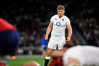 Owen Farrell of England watches play. QBE International match between England and France on August 15, 2015 at Twickenham Stadium in London, England. Photo by: Patrick Khachfe / Onside Images