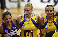 From left: Temepara George, Cushla Lichtwark and Jamilah Gupwell after the match during the ANZ Netball Championship match between the Central Pulse and Northern Mystics, TSB Bank Arena, Wellington, New Zealand on Monday, 4 May 2009. Photo: Dave Lintott / lintottphoto.co.nz