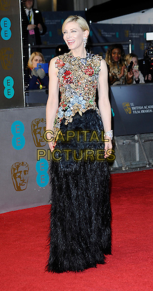 LONDON, ENGLAND - FEBRUARY 14: Cate Blanchett attend the EE British Academy Film Awards ( BAFTAs ), Royal Opera House, Covent Garden on Sunday 14 February 2016 in London, England.<br /> CAP/DH<br /> &copy;DH/Capital Pictures