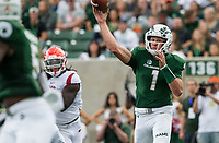 NWA Democrat-Gazette/BEN GOFF @NWABENGOFF<br /> K.J. Carta-Samuels, Colorado State quarterback, throws the ball in the firste quarter vs Arkansas Saturday, Sept. 8, 2018, at Canvas Stadium in Fort Collins, Colo.