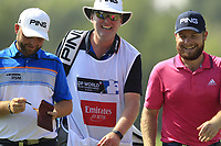 Andy Sullivan (ENG) and Tyrrell Hatton (ENG) on the 9th green during the final round of the DP World Tour Championship, Jumeirah Golf Estates, Dubai, United Arab Emirates. 18/11/2018<br /> Picture: Golffile | Fran Caffrey<br /> <br /> <br /> All photo usage must carry mandatory copyright credit (© Golffile | Fran Caffrey)