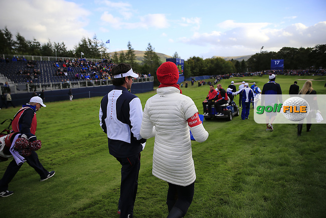 Bubba and Angie Watson (USA) watch the action at the 17th tee during the Friday afternoon foursome matches at the 2014 Ryder Cup at Gleneagles. The 40th Ryder Cup is being played over the PGA Centenary Course at The Gleneagles Hotel, Perthshire from 26th to 28th September 2014.: Picture Eoin Clarke, www.golffile.ie: \9/26/2014\