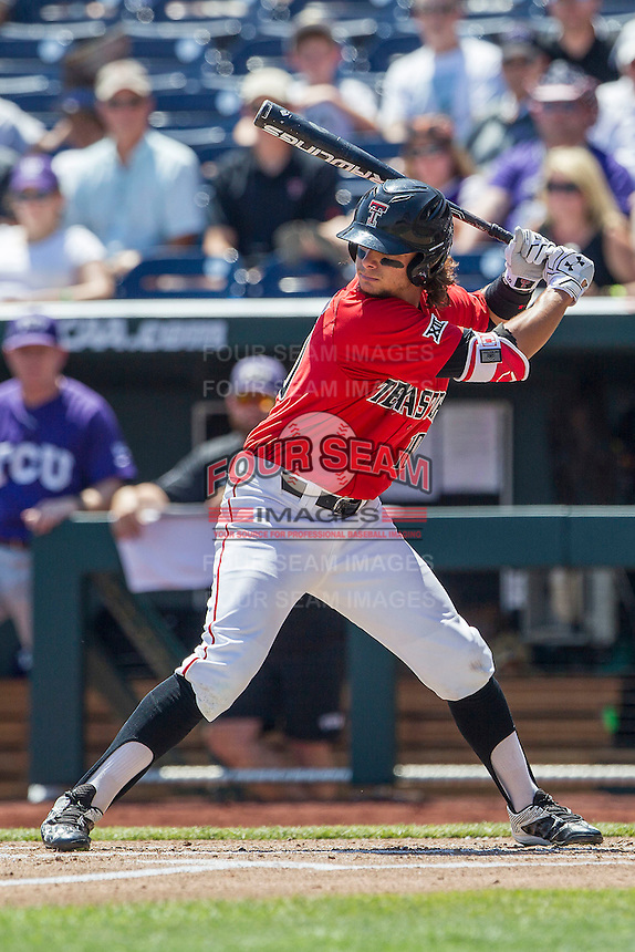 Texas Tech Red Raiders outfielder Tyler Neslony (10) at bat against the TCU Horned Frogs in Game 3 of the NCAA College World Series on June 19, 2016 at TD Ameritrade Park in Omaha, Nebraska. TCU defeated Texas Tech 5-3. (Andrew Woolley/Four Seam Images)