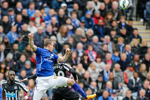02.05.2015.  Leicester, England. Barclays Premier League. Leicester City versus Newcastle United. Robert Huth of Leicester City beats Emmanuel Riviere of Newcastle United to the ball.