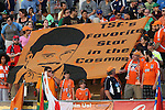 """16 May 2015: Carolina fans unfurl a banner with Neil deGrasse Tyson's image reading """"TSF's Favorite Star in the Cosmos."""" The Carolina RailHawks hosted the New York Cosmos at WakeMed Stadium in Cary, North Carolina in a North American Soccer League 2015 Spring Season match. The game ended in a 2-2 tie."""