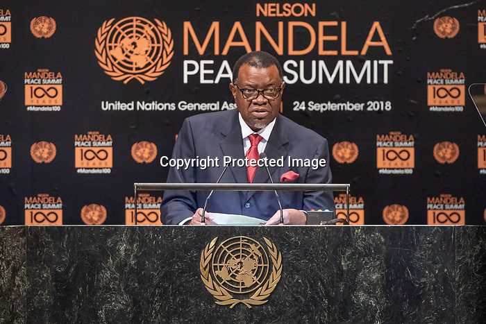 Opening Plenary Meeting of the Nelson Mandela Peace Summit<br /> <br /> His Excellency Hage GEINGOBPresident of the Republic of Namibia