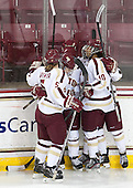 Alex Carpenter (BC - 5), Emily Pfalzer (BC - 14), Melissa Bizzari (BC - 4), Blake Bolden (BC - 10) - The Boston College Eagles defeated the visiting Cornell University Big Red 4-3 (OT) on Sunday, January 11, 2012, at Kelley Rink in Conte Forum in Chestnut Hill, Massachusetts.