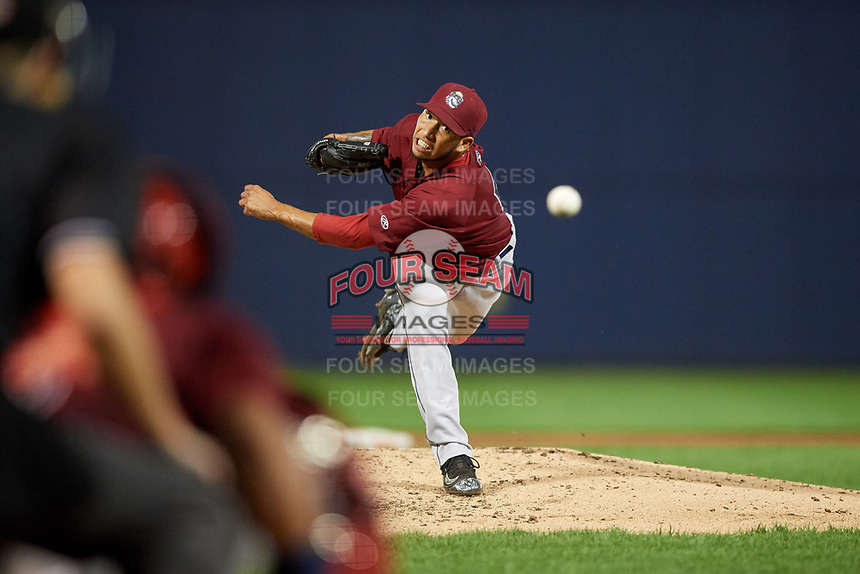 Mahoning Valley Scrappers relief pitcher Randy Valladares (51) delivers a pitch during a game against the Williamsport Crosscutters on August 28, 2018 at BB&T Ballpark in Williamsport, Pennsylvania.  Williamsport defeated Mahoning Valley 8-0.  (Mike Janes/Four Seam Images)