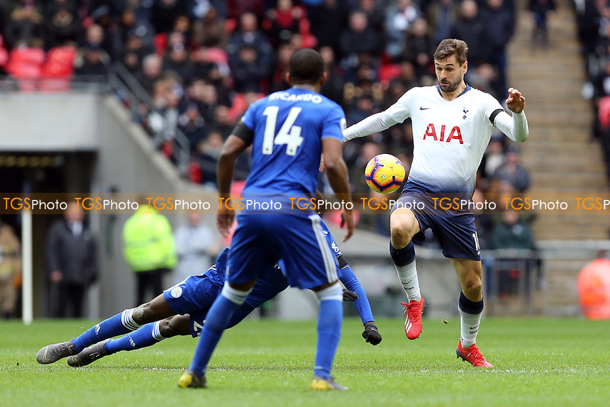 Fernando Llorente of Tottenham Hotspur and Ricardo Pereira of Leicester City during Tottenham Hotspur vs Leicester City, Premier League Football at Wembley Stadium on 10th February 2019