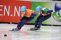 SHORT TRACK: DORDRECHT: Sportboulevard, 14-02-2016, ISU World Cup Short Track Final 2015/2016, Mark Prinsen (#110), Tommaso Dotti (#26), ©photo Martin de Jong