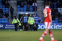 Kieffer Moore of Barnsley is stretchered off the pitch after suffering a nasty injury from a clash of heads during Gillingham vs Barnsley, Sky Bet EFL League 1 Football at The Medway Priestfield Stadium on 9th February 2019