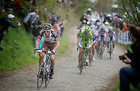 Damien Gaudin (FRA/Ag2r-LaMondiale) over the cobbles of the Oude Kwaremont<br /> <br /> Ronde van Vlaanderen 2014