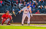 20 April 2013: New York Mets infielder Daniel Murphy in action against the Washington Nationals at Citi Field in Flushing, NY. The Mets fell to the visiting Nationals 7-6, tying their 3-game weekend series at one a piece. Mandatory Credit: Ed Wolfstein Photo *** RAW (NEF) Image File Available ***