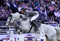OMAHA, NEBRASKA - MAR 30: Ludger Beerbaum and Chiara during the FEI World Cup Jumping Final I at the CenturyLink Center on March 30, 2017 in Omaha, Nebraska. (Photo by Taylor Pence/Eclipse Sportswire/Getty Images)