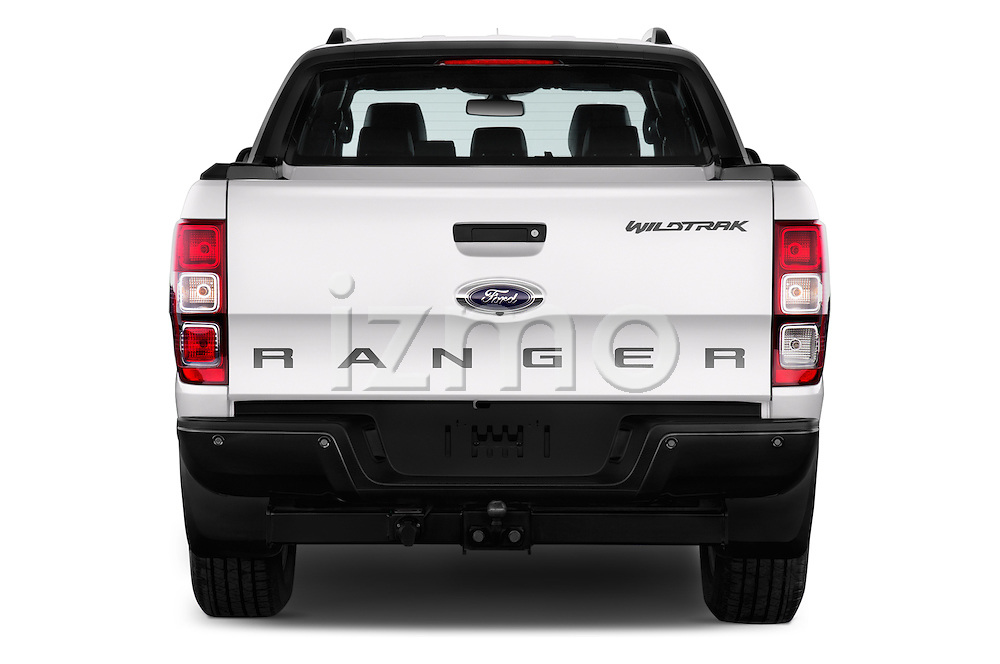 Straight rear view of 2016 Ford Ranger Wildtrak 4 Door Pickup Rear View  stock images