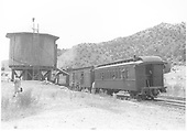 K-28 #473 stopped at the Embudo water tank with the southbound Chili Line train.<br /> D&amp;RGW  Embudo, NM  Taken by Richardson, Robert W. - 7/2/1941