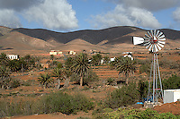 Windmill in typical canarian village Antigua, Fuerteventura, Canary Islands, Spain.