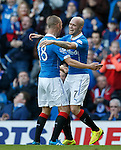 Nicky Law scores the second goal for Rangers and celebrates with Kenny Miller