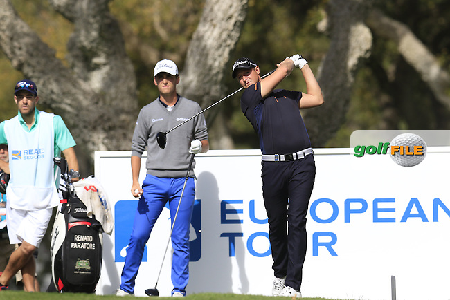 Bjorn Akesson (SWE) tees off the 11th tee  during Saturday's Round 3 of the 2016 Open de Espana hosted by the Sergio Garcia Foundation, held at Real Club Valderrama, Sotogrande, Spain. 16th April 2016.<br /> Picture: Eoin Clarke | Golffile<br /> <br /> <br /> All photos usage must carry mandatory copyright credit (&copy; Golffile | Eoin Clarke)