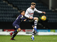 Preston North End's Sean Maguire under pressure from Derby County's Duane Holmes  <br /> <br /> Photographer Andrew Kearns/CameraSport<br /> <br /> The EFL Sky Bet Championship - Preston North End v Derby County - Friday 1st February 2019 - Deepdale Stadium - Preston<br /> <br /> World Copyright © 2019 CameraSport. All rights reserved. 43 Linden Ave. Countesthorpe. Leicester. England. LE8 5PG - Tel: +44 (0) 116 277 4147 - admin@camerasport.com - www.camerasport.com