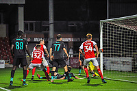 Fleetwood Town's defender Peter Clarke (4)  scores to make it 1-0 during the The Leasing.com Trophy match between Fleetwood Town and Liverpool U21 at Highbury Stadium, Fleetwood, England on 25 September 2019. Photo by Stephen Buckley / PRiME Media Images.