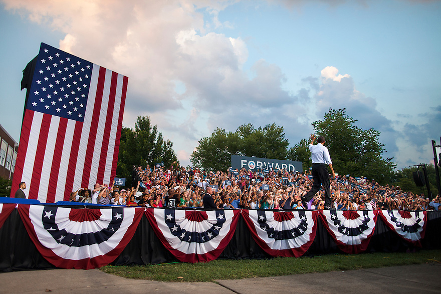 U.S. President Barack Obama arrives at a campaign rally at Loudoun County High School in Leesburg, Virginia.