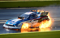 Sept. 23, 2012; Ennis, TX, USA: NHRA funny car driver Tim Wilkerson blows an engine on fire during the Fall Nationals at the Texas Motorplex. Mandatory Credit: Mark J. Rebilas-US PRESSWIRE