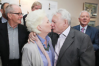 22/9/2010. Cathal O'Shannon - A Life in Television.  Fionnula Flanagan and Niall Tobin have a kiss at Veteran of Irish TV Cathal O'Shannon at the Conrad Hotel Dublin for the IFTA Tribute event Cathal O'Shannon- A life in Television. Picture James Horan/Collins Photos