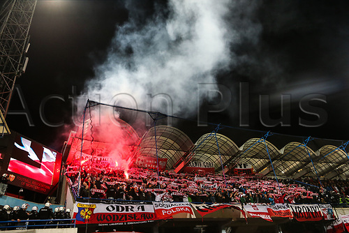 March 26th 2017, Podgorica City Stadium,  Montenegro; World Cup 2018 Internationl football qualification, Montenegro versus Poland;  Poland fans light flares in the stands