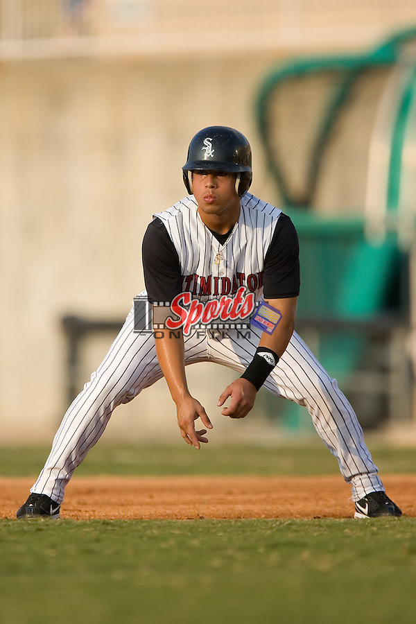 Kannapolis shortstop Sergio Miranda (1) takes his lead off of first base versus Rome at Fieldcrest Cannon Stadium in Kannapolis, NC, Saturday, July 28, 2007.