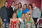 Orla Cotter representing Toby World, seated centre, surrounded by supporters at the 2008 Kerry Rose Selection in The Earl of Desmond Hotel on Saturday night. Seated l/r Catherine Tobin, Orla Cotter and Emer Tobin. Standing l/r Ken Tobin, Diarmaid Harnett, Amy Powell, Christina O'Keeffe, Georgina O'Reilly, Katelyn Nolan and Garry Tobin...........   Copyright Kerry's Eye 2008