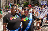 Marchers proudly from Brooklyn in the 43rd annual Lesbian, Gay, Bisexual and Transgender Pride Parade on Fifth Avenue in New York on Sunday, June 24, 2012. The parade took place on the one year anniversary of the legalization of gay marriage in New York.  (© Richard B. Levine)
