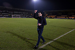 Home manager Jack Ross gives the thumbs-up to fans at the Paisley2021 Stadium after Scottish Championship side St Mirren played Welsh champions The New Saints in the semi-final of the Scottish Challenge Cup for the right to meet Dundee United in the final. The competition was expanded for the 2016-17 season to include four clubs from Wales and Northern Ireland as well as Scottish Premier under-20 teams. Despite trailing at half-time, St Mirren won the match 4-1 watched by a crowd of 2044, including 75 away fans.