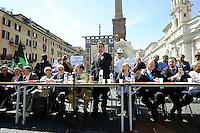 Roma, 24 Giugno 2010.Piazza Navona.L'Aquila,  consiglio comunale straordinario a Roma.Il sindaco Massimo Cialente.L'Aquila, extraordinary council in Rome.Mayor Massimo Cialente