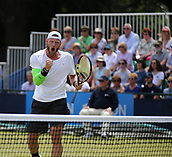 June 16th 2017, Nottingham, England; ATP Aegon Nottingham Open Tennis Tournament day 5;  Delight from Sam Groth of Australia as he secures the winning point in his quarter final match against John-Patrick Smith of Australia