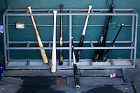 Round Rock Express bat rack on July 9, 2013 at the Dell Diamond in Round Rock, Texas. (Andrew Woolley/Four Seam Images)