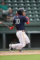 Third baseman Tanner Nishioka (30) of the Greenville Drive bats in Game 1 of a doubleheader against the Hickory Crawdads on Wednesday, July 25, 2018, at Fluor Field at the West End in Greenville, South Carolina. Greenville won, 4-1. (Tom Priddy/Four Seam Images)
