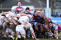 A general view of the Rotherham Titans front row at a scrum. Greene King IPA Championship match, between Rotherham Titans and Bedford Blues on January 17, 2018 at Clifton Lane in Rotherham, England. Photo by: Patrick Khachfe / Onside Images
