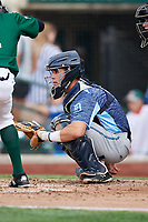 West Michigan Whitecaps catcher Brady Policelli (6) waits to receive a pitch during a game against the Fort Wayne TinCaps on May 17, 2018 at Parkview Field in Fort Wayne, Indiana.  Fort Wayne defeated West Michigan 7-3.  (Mike Janes/Four Seam Images)