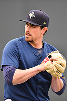 Starting pitcher Blake Taylor (28) of the Columbia Fireflies warms up before a game against the Lakewood BlueClaws on Saturday, May 6, 2017, at Spirit Communications Park in Columbia, South Carolina. Lakewood won, 1-0 with a no-hitter. (Tom Priddy/Four Seam Images)