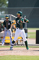 Oakland Athletics outfielder Rafael Rincones (8) at bat during an Instructional League game against the Chicago White Sox at Lew Wolff Training Complex on October 5, 2018 in Mesa, Arizona. (Zachary Lucy/Four Seam Images)