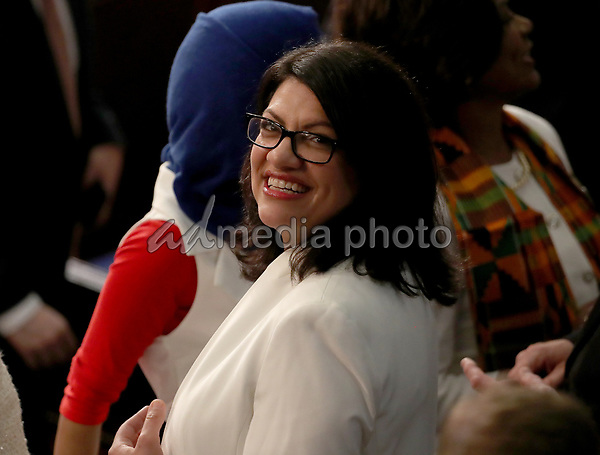 United States Representative Rashida Tlaib (Democrat of Michigan) on the floor prior to US President Donald J. Trump delivering his second annual State of the Union Address to a joint session of the US Congress in the US Capitol in Washington, DC on Tuesday, February 5, 2019. Photo Credit: Alex Edelman/CNP/AdMedia