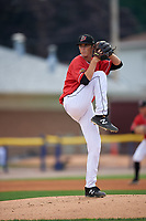 Batavia Muckdogs pitcher Easton Lucas (28) during a NY-Penn League game against the Lowell Spinners on July 11, 2019 at Dwyer Stadium in Batavia, New York.  Batavia defeated Lowell 5-2.  (Mike Janes/Four Seam Images)