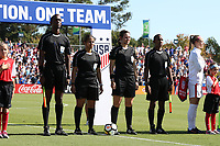 Cary, NC - Sunday October 22, 2017: Caleb Wales, Christina Unkel, Sheena Dickson, and Ainsley Rochard prior to an International friendly match between the Women's National teams of the United States (USA) and South Korea (KOR) at Sahlen's Stadium at WakeMed Soccer Park. The U.S. won the game 6-0.
