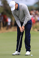 Patrick Cantlay (USA) on the 1st green during the Second Round - Foursomes of the Presidents Cup 2019, Royal Melbourne Golf Club, Melbourne, Victoria, Australia. 13/12/2019.<br /> Picture Thos Caffrey / Golffile.ie<br /> <br /> All photo usage must carry mandatory copyright credit (© Golffile | Thos Caffrey)